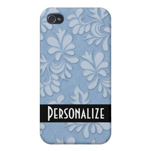 damasco floral del remolino azul en colores pastel iPhone 4 fundas