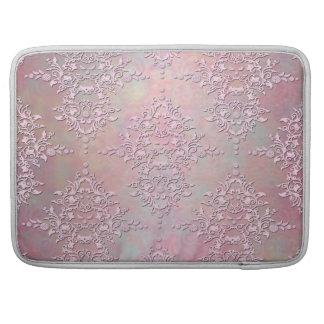 Damasco floral del rosa antiguo femenino de la aur funda para macbooks