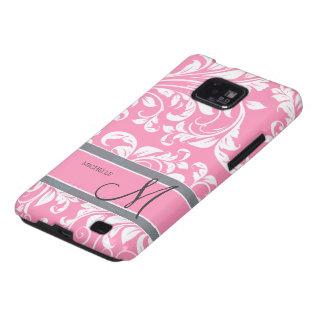 Damasco floral del rosa de Bubblegum y blanco con Samsung Galaxy S2 Carcasas