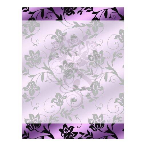 damasco floral del satén floral de la lavanda tarjetas informativas