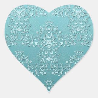 Damasco floral del trullo complejo calcomania corazon