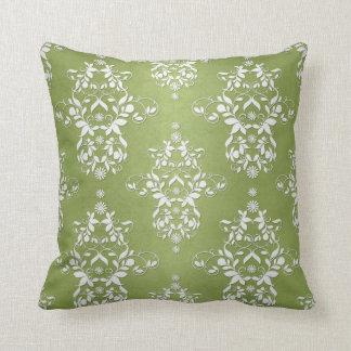 Damasco floral del verde de musgo y blanco almohada
