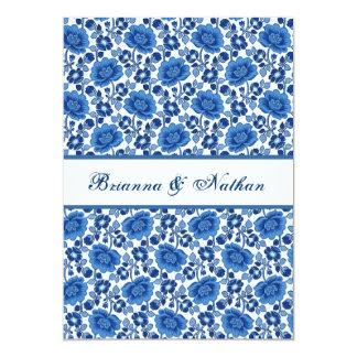 """Damasco floral del vintage azul y blanco invitación 5"""" x 7"""""""