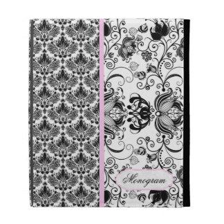 Damasco floral del vintage elegante negro y blanco