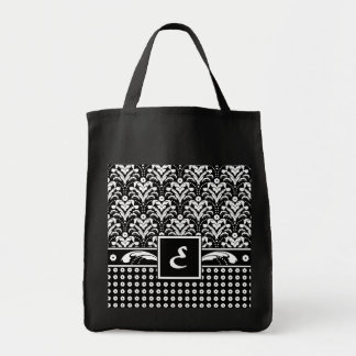 Damasco floral elegante de la letra E del monogram Bolsa Tela Para La Compra