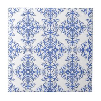 Damasco floral elegante del azul de cobalto y azulejo cuadrado pequeño