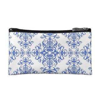 Damasco floral elegante del azul de cobalto y