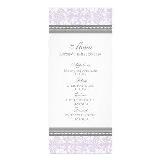 Damasco floral gris de la lila del menú del boda invitacion personal