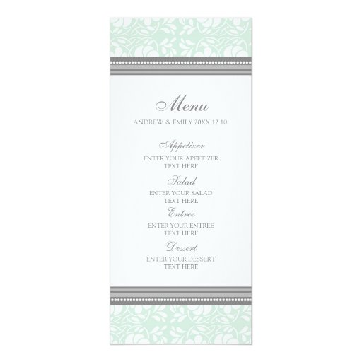"""Damasco floral gris de la menta del menú del boda invitación 4"""" x 9.25"""""""