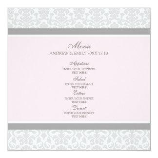 Damasco floral gris del rosa del menú del boda comunicados personales