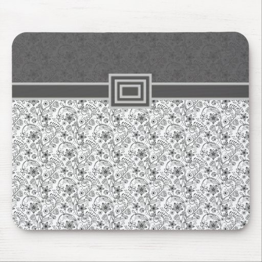 Damasco floral gris elegante Mousepad