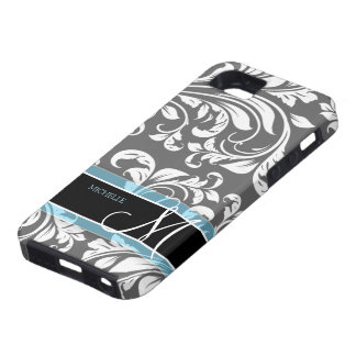 Damasco floral gris y blanco elegante con el monog iPhone 5 Case-Mate carcasa