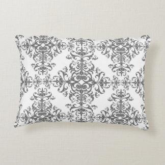 Damasco floral gris y blanco elegante del estilo