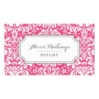 Damasco floral gris y rosado tarjetas de visita
