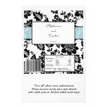 Damasco floral negro/azul que casa la envoltura de tarjetas publicitarias