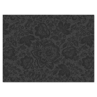 Damasco floral negro con el fondo gris oscuro papel de seda grande