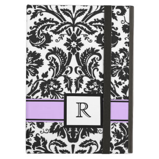 damasco floral negro púrpura del monograma de enca