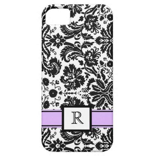 damasco floral negro púrpura del monograma de enca iPhone 5 Case-Mate cárcasas