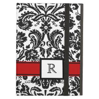 damasco floral negro rojo del monograma de encargo
