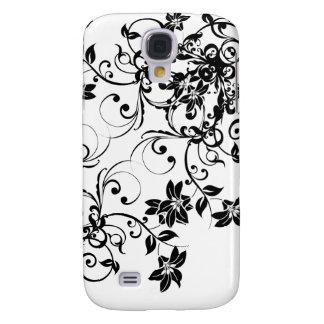 Damasco floral negro y blanco: Caso de IPhone 3G Funda Para Galaxy S4