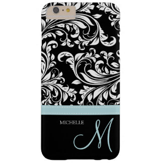 Damasco floral negro y blanco elegante con el funda de iPhone 6 plus barely there
