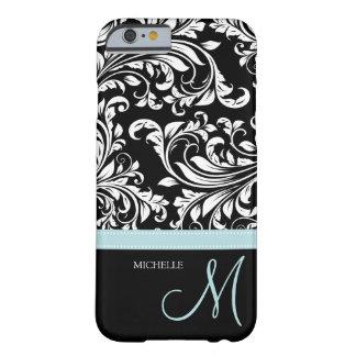 Damasco floral negro y blanco elegante con el funda de iPhone 6 barely there