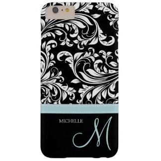 Damasco floral negro y blanco elegante con el funda barely there iPhone 6 plus