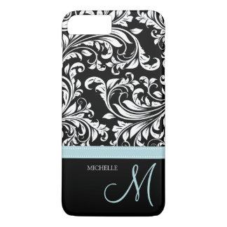Damasco floral negro y blanco elegante con el funda iPhone 7 plus