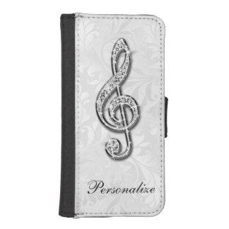 Damasco floral personalizado de la nota de la fundas billetera de iPhone 5