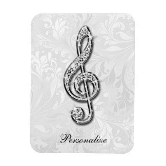 Damasco floral personalizado de la nota de la músi imanes