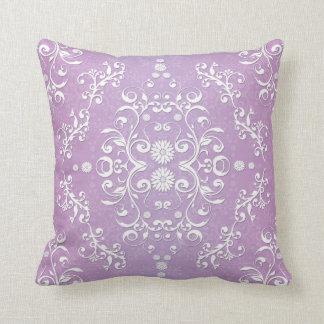 Damasco floral púrpura y blanco de la lavanda almohadas