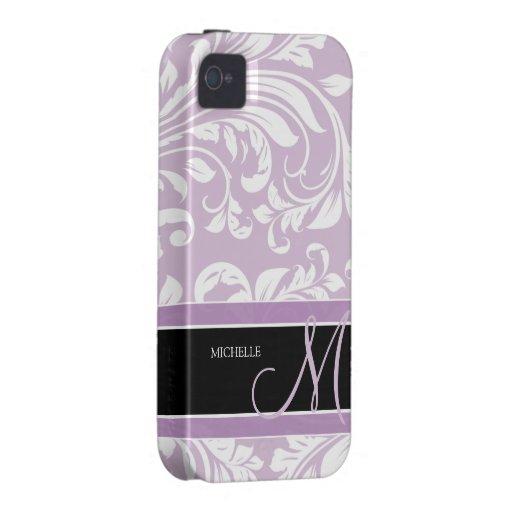 Damasco floral púrpura y blanco del cardo con el m vibe iPhone 4 carcasas