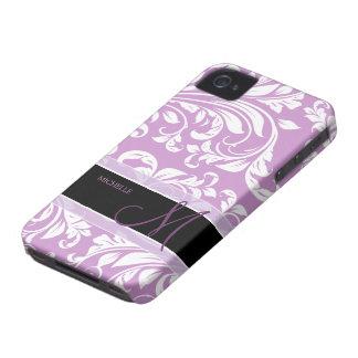 Damasco floral púrpura y blanco del ciruelo con el iPhone 4 carcasas