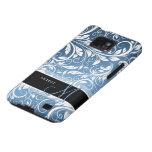 Damasco floral real personalizado del azul y blanc samsung galaxy s2 carcasa