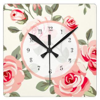 Damasco floral reloj cuadrado