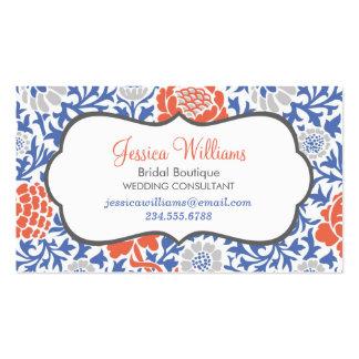 Damasco floral retro azul y coralino tarjetas de visita