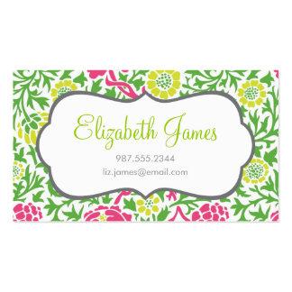 Damasco floral retro del verde y del rosa tarjetas de negocios