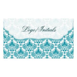 Damasco floral retro elegante blanco y azul tarjetas de visita