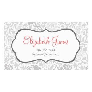Damasco floral retro gris tarjeta de visita