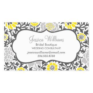 Damasco floral retro gris y amarillo tarjetas de visita