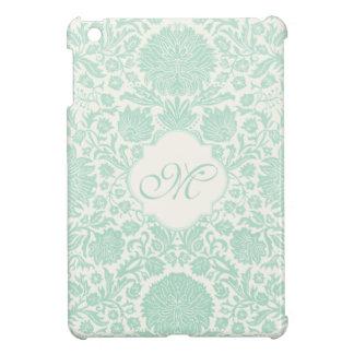 Damasco floral retro verde de Seafoam con el monog iPad Mini Cárcasas