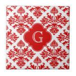 Damasco floral rojo #3 del vintage con el monogram azulejo ceramica