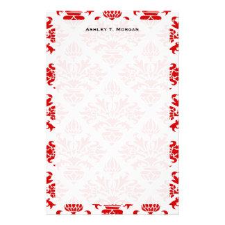 Damasco floral rojo #3 del vintage grande personalized stationery