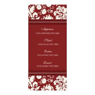 Damasco floral rojo del menú del boda lonas personalizadas
