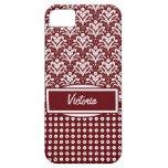 Damasco floral rojo oscuro y blanco del art déco iPhone 5 protectores