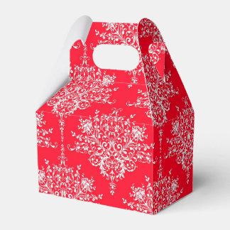 Damasco floral rojo y blanco del coche de bomberos cajas para regalos