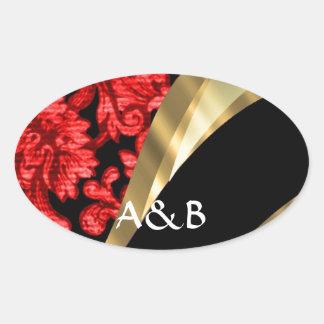 Damasco floral rojo y negro pegatinas oval personalizadas