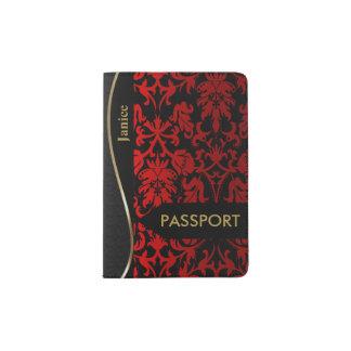 Damasco floral rojo y negro porta pasaporte