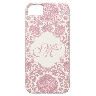 Damasco floral rosado con monograma iPhone 5 Case-Mate cárcasas