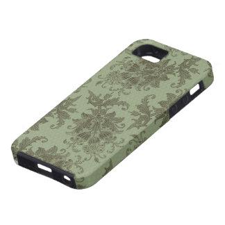 damasco floral verde adornado iPhone 5 carcasa